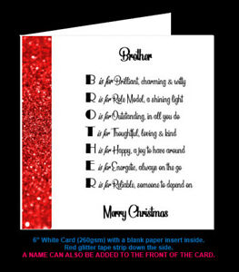 Brother Poem Birthday Card, Christmas Card, Brother in Law Card, Step Brother