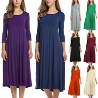 Women's O-Neck Half Sleeve Solid Maxi Dress Casual Swing Skater Loose Midi Dress