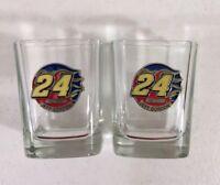 2 JEFF GORDON 3D Shot Glasses- 2 Lot-  Emblem #24 Nascar ~ Rare