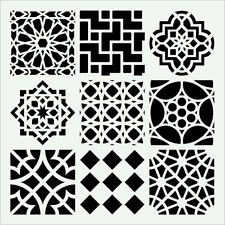 """MOROCCAN TILE STENCIL 9 ASSORTED TILES TEMPLATE STENCILS NEW ART 6"""" X 6"""" BY TCW"""