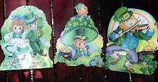 Lot Of 3 Vintage Die Cut St Patricks Day Paper Wall Decorations 12� By 16�