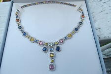 New designer Sonia B 5 ct Diamond, 50+ ct Gemstone Necklace 18K /750 $20,000+