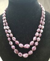Vintage Double stranded graduated Milk glass purple beaded Necklace