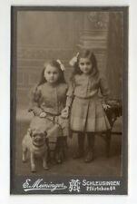 CDV zwei kleine Mädchen mit Hund , Mops / E. Meininger Schleusingen
