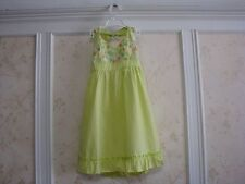 NWT JANIE AND JACK GIRLS EMBROIDERED FLORAL HALTER DRESS  6  LIME GREEN