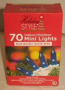 NIB 70-Light Mini Blue Christmas 14' Strand White Wire String Indoor/Outdoor