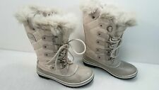 Sorel Women Warm Gray Faux Leather Waterproof Quilted Fabric Winter Boots Size 7
