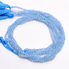 3 mm Natural Aquamarine Faceted Round Rondelle Beads Jewelry 33 cm Strand AB-25
