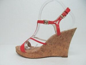 Michael Kors Cicely Pink Leather Cork Wedge Sandals Size Women's 10M NWOB