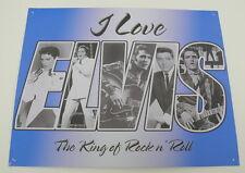 "I Love Elvis The King of Rock n'Roll Metal Sign 12"" x 15"""