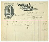 GRAPHIC 1892 BUFFALO NEW YORK BILLHEAD WALBRIDGE & CO. WHOLESALE HARDWARE