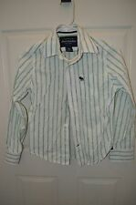 Boys ABERCROMBIE White/Green Striped Button Down Shirt Size S
