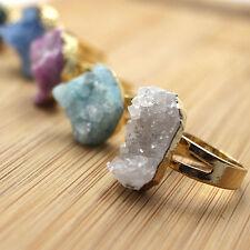 Gold Plated Raw Rough Ring Druzy Crystal Healing Stone Agate Druzy Quartz Rings