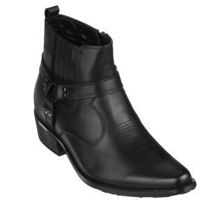 """CALTO Men's Invisible 3.3"""" Height Increasing Elevator Western Ranch Style Boots"""