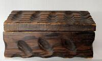 Vintage Rustic Hand Carved Wooden Jewelry or Trinket Box raised grain