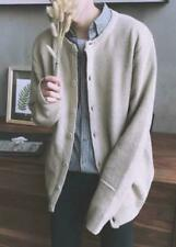 Men's Cardigan Sweater Loose Korean Casual Round Neck Knitted Button Outwear