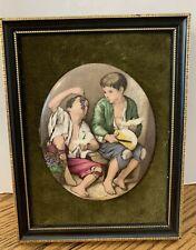 Vintage Murillo Children's Scene Oval Ceramic Picture on Velvet Framed Spain