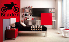 DIRT BIKE AND NAME Motocross MX Motorcycle Sticker Wall Decal Boys Room Sticker