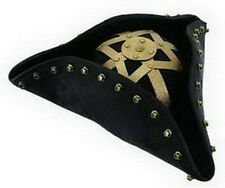 Pirate Hat Captain Black Beard Aged Faux Leather Adult Halloween Costume Cap