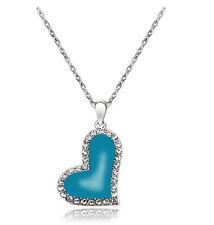 Elegant Light Pale Ocean Blue Heart Pendant with Rhinestones Necklace N217