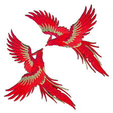 New Phoenix Exotic Bird Red DIY Fabric Craft Embroidery Iron On Appliqué Patch#