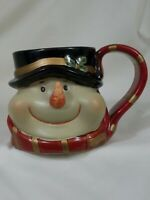 Snowman Coffee Cocoa Mug Handpainted Details Large Ceramic Cup Gift Holiday