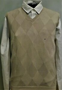 NWT, IZOD GOLF, Beige Argyle Fine Gauge Soft 100% Cotton Sweater-Vest, Large #15