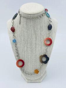 Millefiori Glass Charm Necklace Circle Star Chain