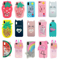 3D Cartoon Sparkle Glitter Soft Silicone Case Cover For iPhone 5 SE 6S 7 8Plus X