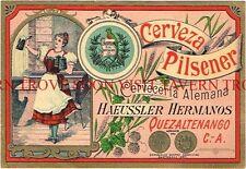 Guatemala Beer Label Pilsener Haeussler Hermanos Quezaltenango Tavern Trove