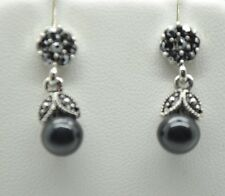 vintage marcasite style post/drop black fashion earring  WE-01 US-SELLER