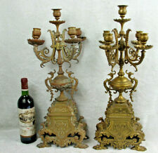 Antique PAIR Huge Bronze dragon gothic Candle holder candelabras lion paws