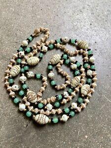 RARE 1930s NEIGER Art Deco Cream & green Uranium Glass Egyptian Revival Necklace