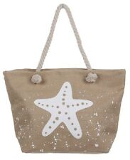 Large Burlap Beach Travel Tote Bag White Starfish Dual Rope Handle Shopping Gym
