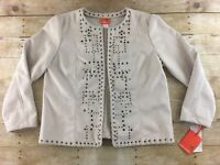 NWT Hearts Of Palm Jacket Faux Suede Womens Size 16 Open Front Western Studs