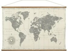 World Map Large Hanging Canvas Banner 90x60cm