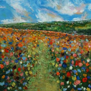 "WILDFLOWERS 18x18"" Oil Painting Landscape Impressionist Original Art M.Creese"