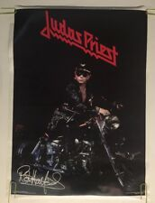Vintage Poster Judas Priest Rob Halford Motorcycle Pin-up 1980's Rock Music 80's