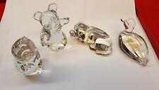 4 Nachtmann Glas Figuren Ente Hund Bär Eule Bleikristall