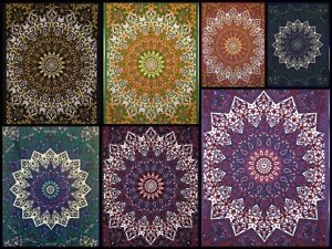 Small Tapestry Ombre Mandala Poster Collage Ethnic Bohemian Cotton Fabric Rug