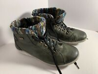 remonte 37 Leather Ankle Boots Green Bohemian  Multi Color Felt Interior Hiking