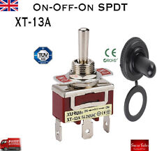 15A 250VAC 3 Pin SPDT ON-OFF-ON Toggle Switch+Waterproof Cap Dashboard XT-13A