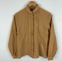 VINTAGE Richards Wool Blouse Top Womens 8 Camel Brown Long Sleeve Collared Italy