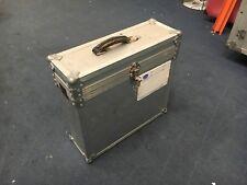 Custodia di volo in alluminio con coperchio rimovibile a cerniera e maniglia per il trasporto in pelle