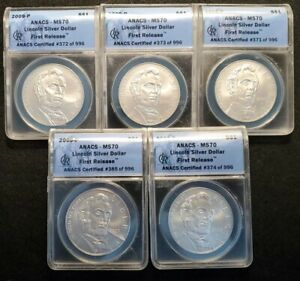 Lot of Five 2009-P Anacs MS70 FR Lincoln Commemorative Silver Dollars