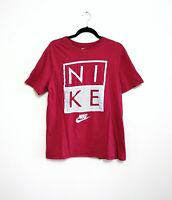 Nike Men's T Shirt Size Large Athletic Cut Burgundy Short Sleeve Spell Out Tee