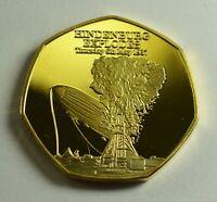 HINDENBURG EXPLODES 1937 NEWSPAPER Collectors Token/Medal 24ct Gold. Airship