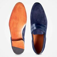 Mens Handmade Shoes Round Toe Moccasin Blue Suede Formal Dress Casual Wear Boots