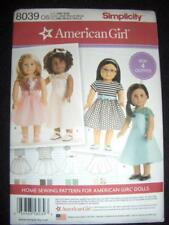 "18"" DOLL NEW 8039 Simplicity Pattern 4 Dresses Fits American Gitrl"