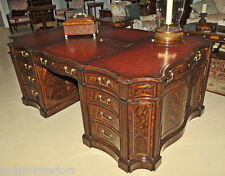 Custom Chippendale Executive Partners Pedestal Desk Flame Walnut & Rosewood trim